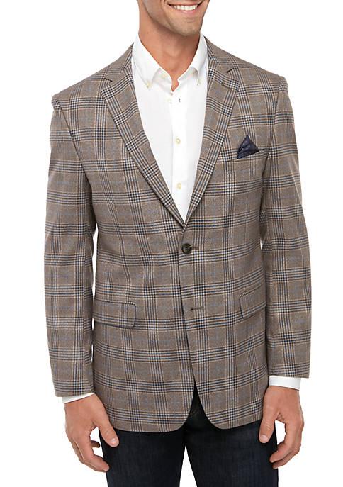 Crown & Ivy™ Brown Blue Deco Plaid Sportcoat