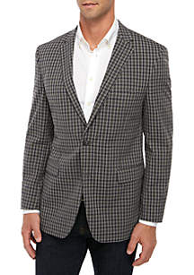 Crown & Ivy™ Big & Tall Mid Gray Check Blue Deco Tom Coat