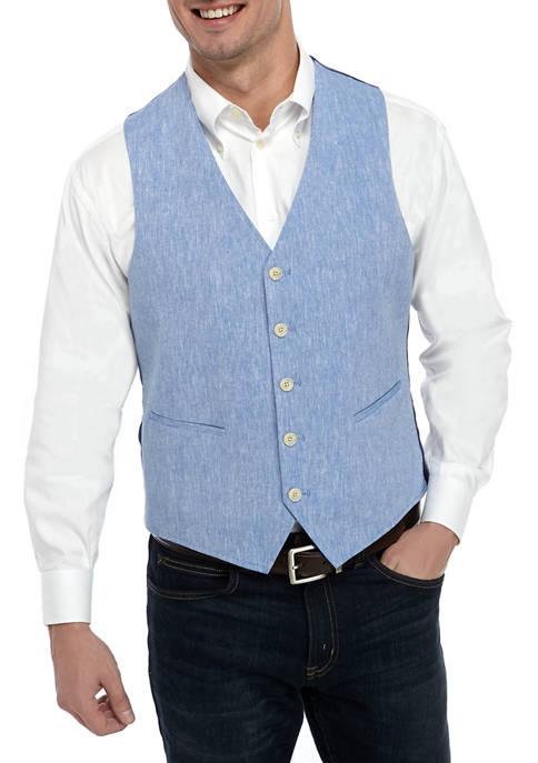 Crown & Ivy™ Mens Blue Linen Vest