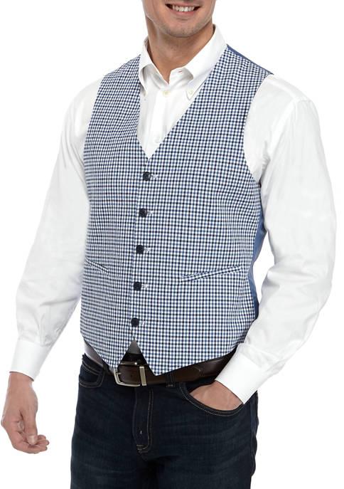 Crown & Ivy™ Mens Blue Check Vest