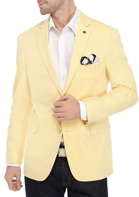 Crown & Ivy™ Mens Yellow Herringbone Sport Coat