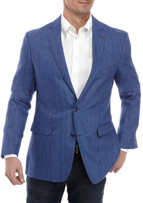 Crown & Ivy™ Mens Blue Herringbone Sport Coat