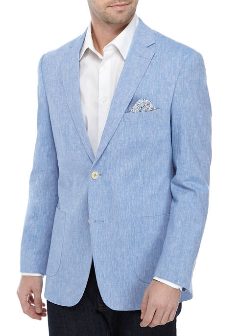 Crown & Ivy™ Mens Blue Linen Solid Sport