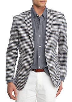 Crown & Ivy™ Blue Check Stretch With Tauper Elbow Patch Sport Coat