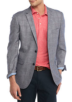 Crown & Ivy™ Classic-Fit  Motion Stretch Blue Plaid with Navy Elbow Patch Sport Coat