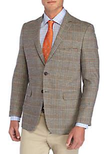 Plaid Cotton Motion Stretch Cotton Sport Coat with Elbow Patch