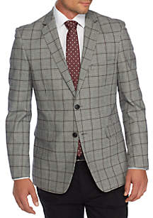 Plaid Motion Stretch Cotton Sport Coat with Elbow Patch