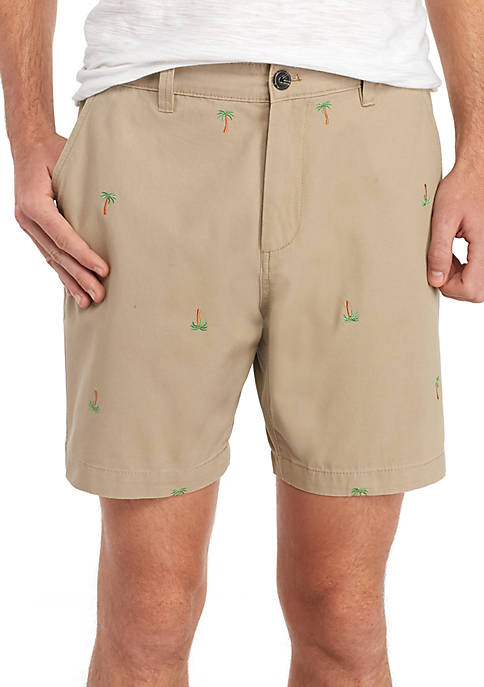 Crown & Ivy™ Stretch Flat Front Embroidered Shorts