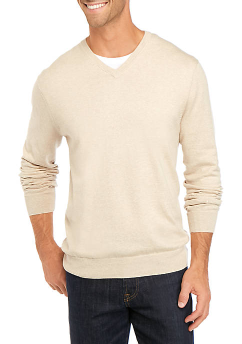 Crown & Ivy™ Cotton Cashmere V-Neck Sweater