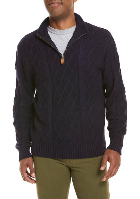 Crown & Ivy™ Fisherman Quarter Zip Sweater