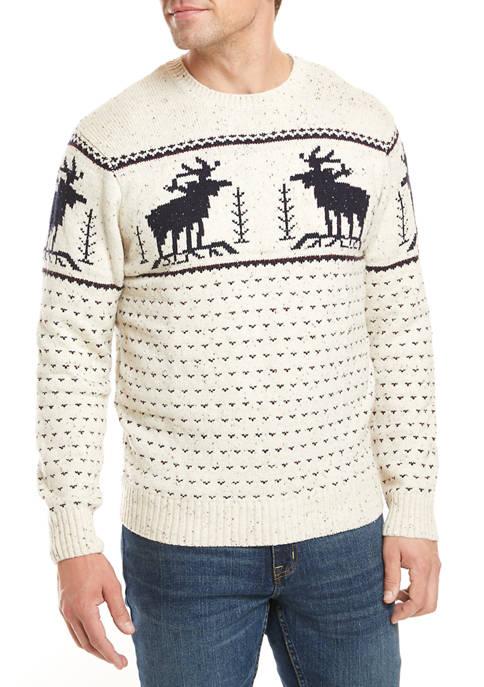 Crown & Ivy™ Fairisle Moose Sweater