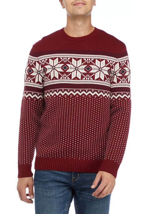 Mens Snowflake Crew Sweater