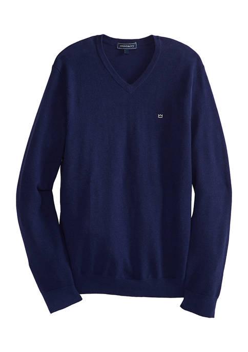 Crown & Ivy™ Piqué V-Neck Sweater