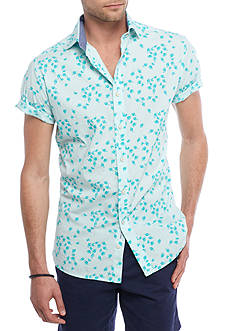 Crown & Ivy™ Short Sleeve Stretch Washed Spread Collar Shirt