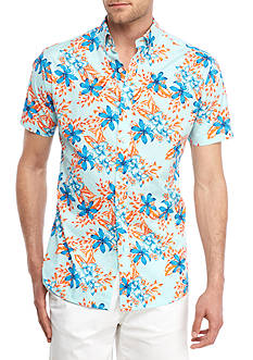 Crown & Ivy™ Short Sleeve Stretch Tropical Print Button Down Shirt