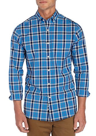 Crown & Ivy™ Long Sleeve Non Iron Stretch Plaid Button Down
