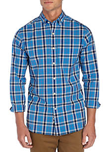 Long Sleeve Non Iron Stretch Plaid Button Down Shirt