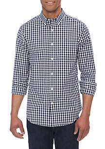 Long Sleeve Non Iron Stretch Gingham Button Down Shirt