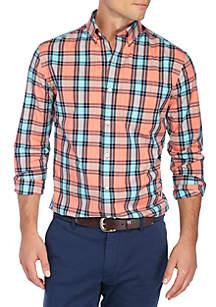 Long Sleeve Plaid Button Down-Shirt