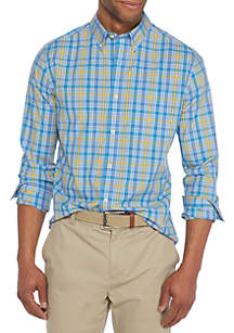 Long Sleeve Non-Iron Stretch Gingham Shirt