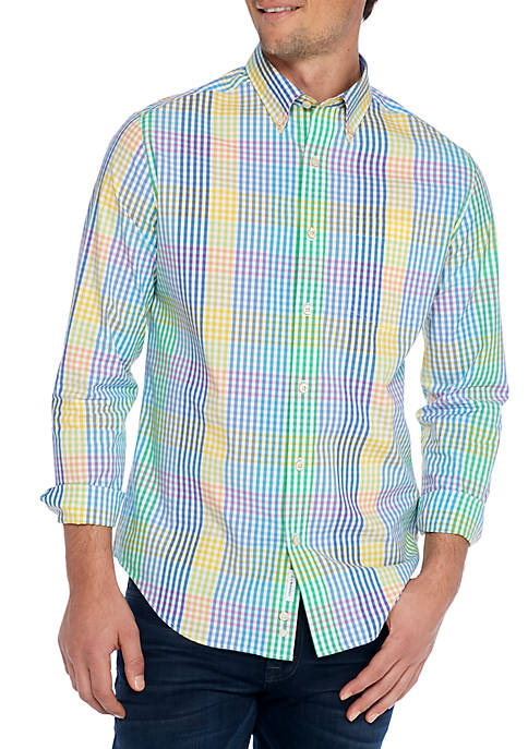 Crown & Ivy™ Long Sleeve Multi Gingham Non-Iron