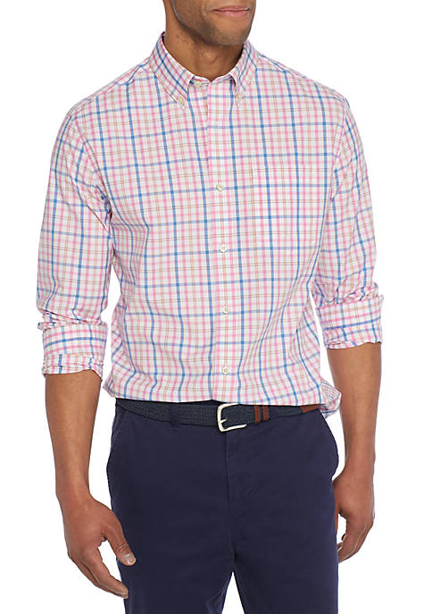 Crown & Ivy™ Long Sleeve Non-Iron Stretch Gingham
