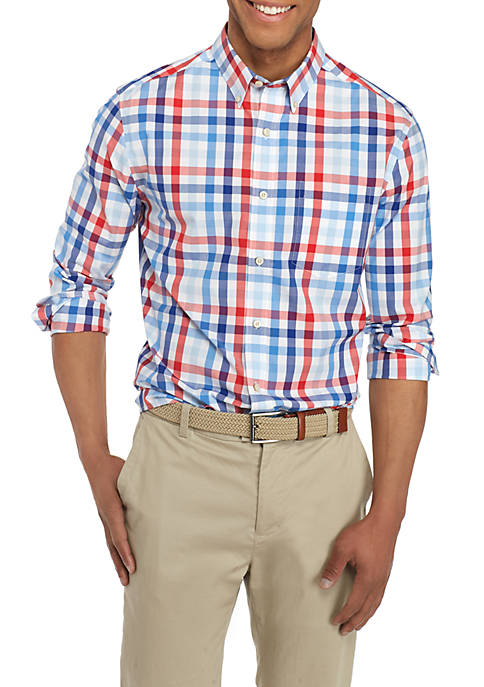 Crown & Ivy™ Long Sleeve Multi Gingham Button-Front