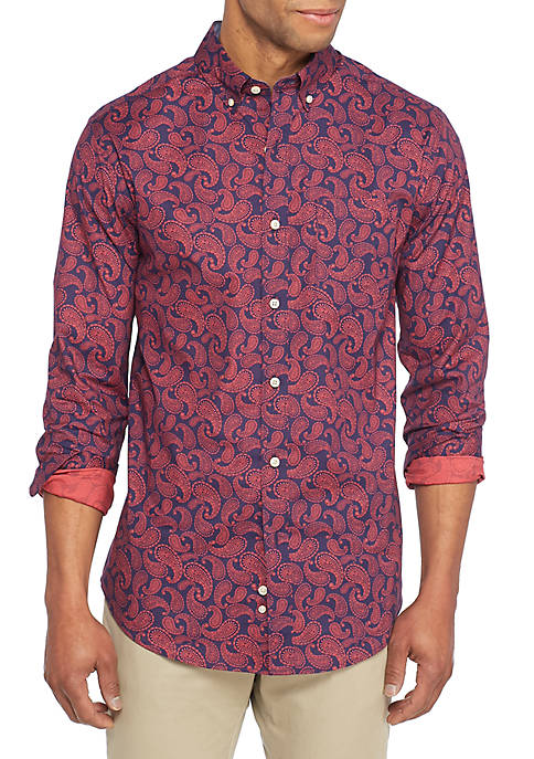Crown & Ivy™ Long Sleeve Non-Iron Stretch Paisley