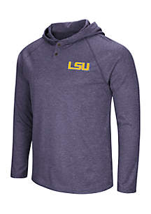 Louisiana State Tigers Hooded Henley Long Sleeve Tee