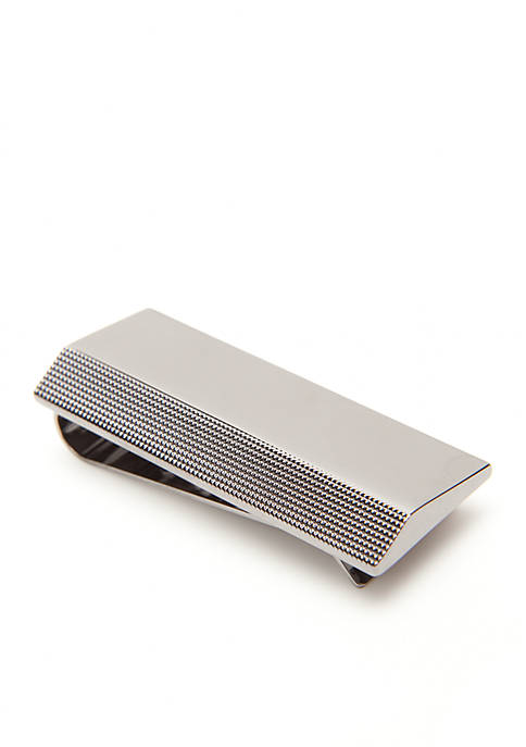 Kenneth Cole Reaction Polished Gunmetal Ribbed Money Clip