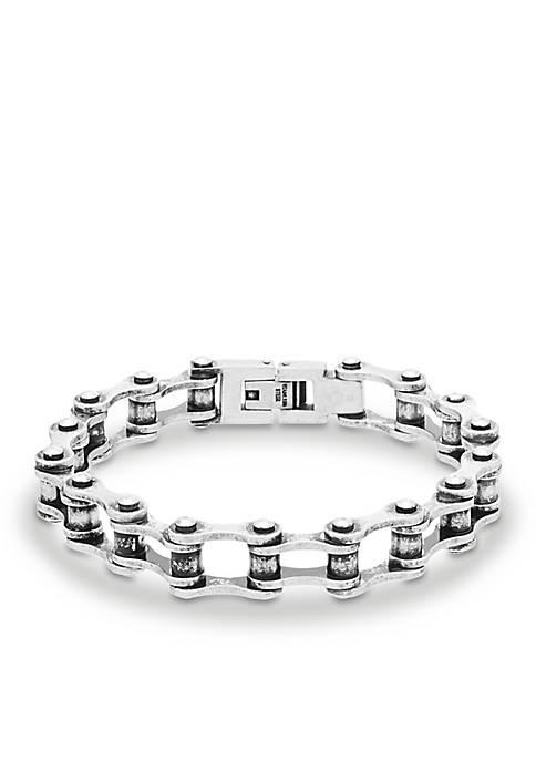 Silver-Tone Bike Link Chain Bracelet