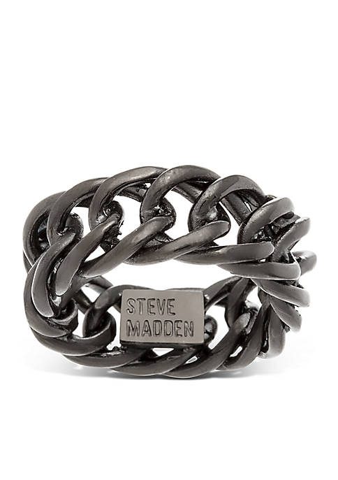 Steve Madden Stainless Steel Curb Chain Ring