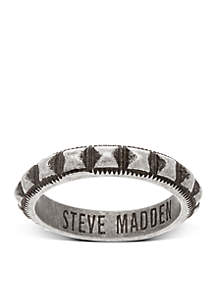 Silver-Tone Textured Stud Ring