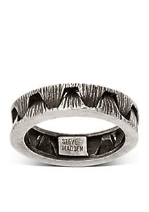 Silver-Tone Crown Optic Band Ring