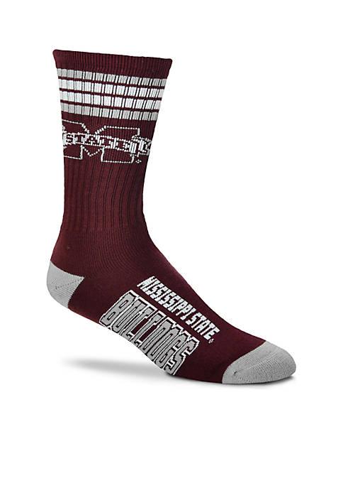 Mississippi State Bulldogs 4 Stripe Deuce Quarter Socks