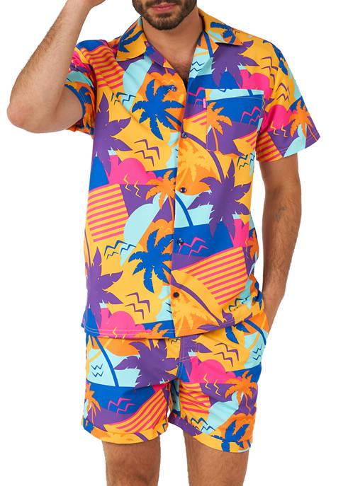 Palm Power Tropical Shirt and Shorts Set