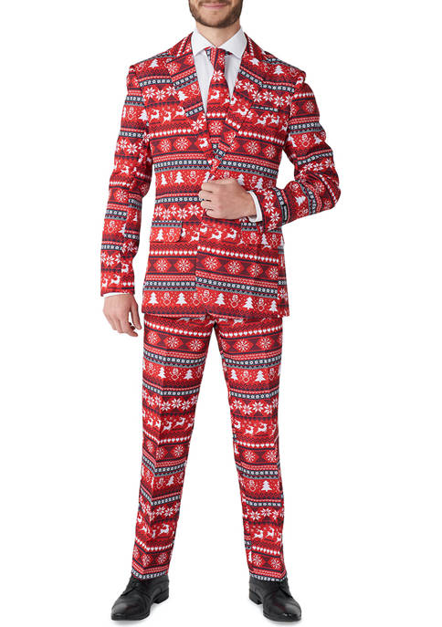 Nordic Pixel Red Christmas Suit