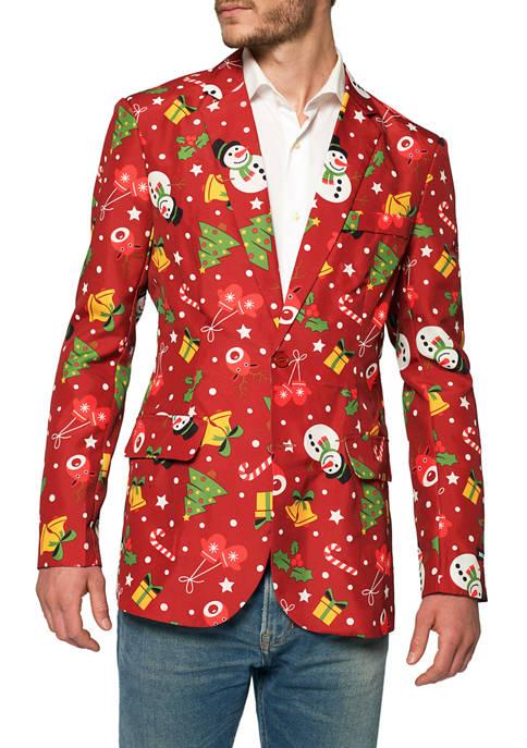 Christmas Red Icons Light Up Blazer