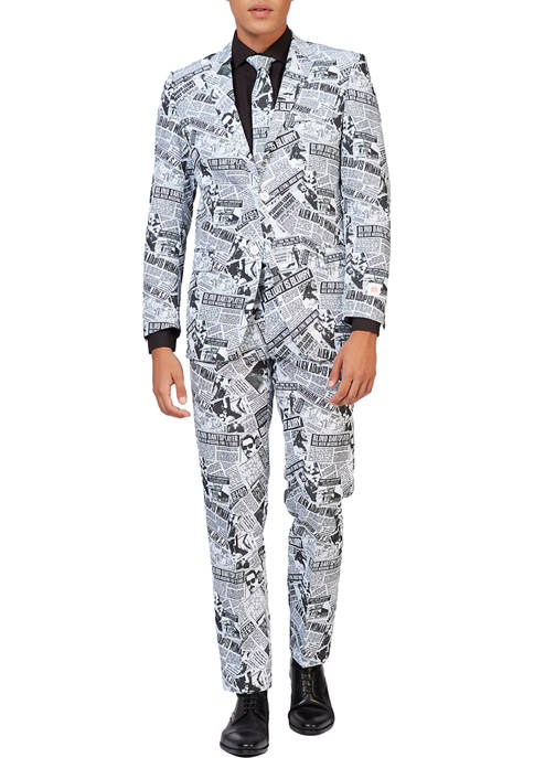 OppoSuits Textile Telegraph Newspaper Print Suit