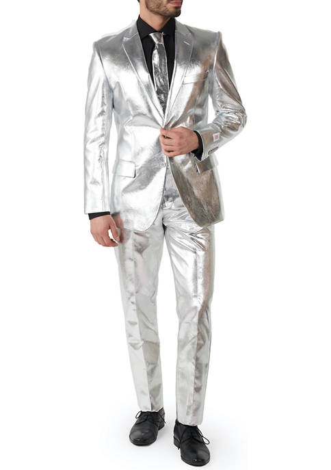 OppoSuits Shiny Silver Metallic Party Suit