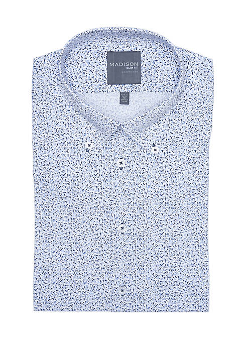 Madison Slim Fit Floral Printed Stretch Dress Shirt