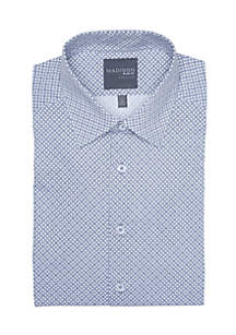 Slim Fit Medallion Printed Stretch Dress Shirt