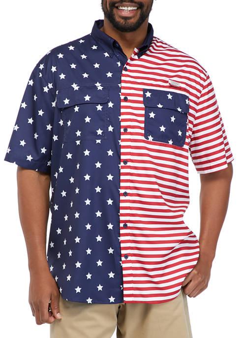 Big & Tall Short Sleeve Americana Fishing Shirt