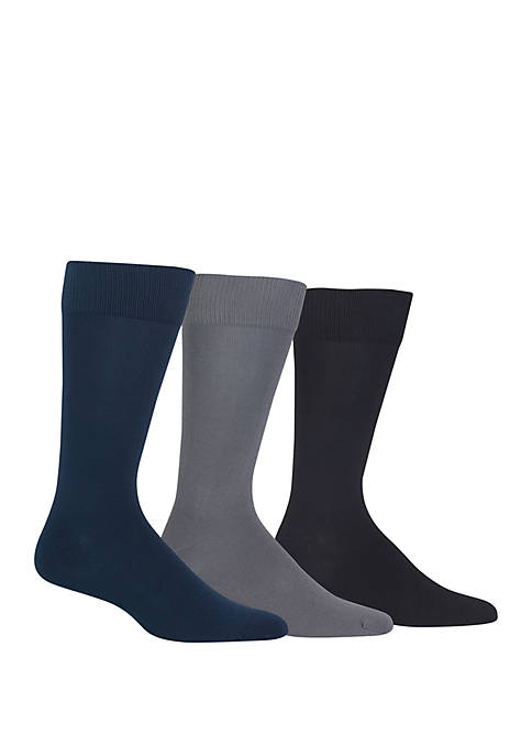 Chaps Solid Supersoft Dress Crew Socks-3 Pair