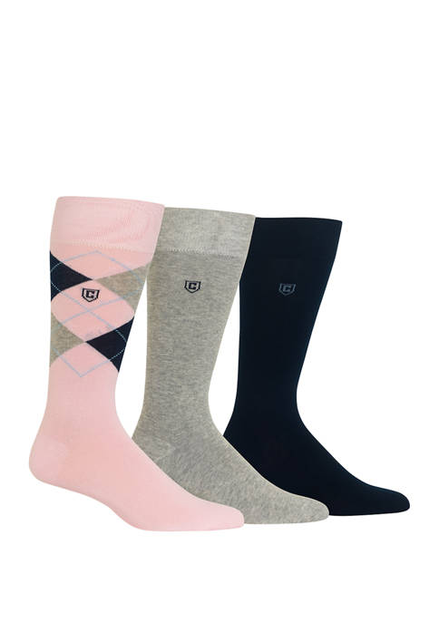 Chaps Mens Dress Argyle Crew Socks 3 Pair