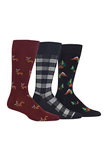 Set of 3 Chaps Novelty Dachshund with Antlers Crew Socks