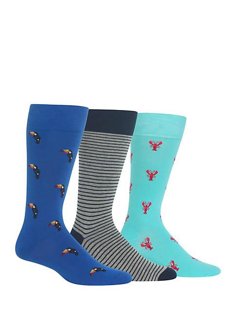 Tropical Crew Socks 3 Pair