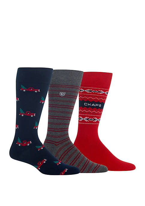 Chaps 3 Pack Holiday Truck Crew Socks