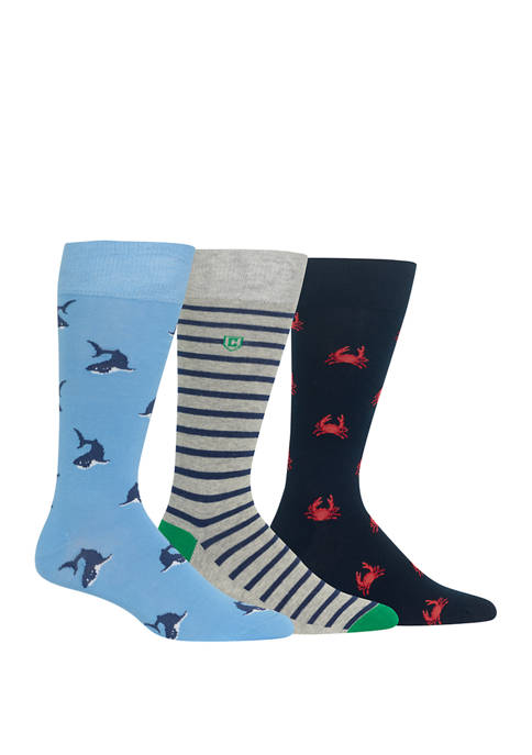 Chaps Mens Novelty Shark Crew Socks 3 Pair