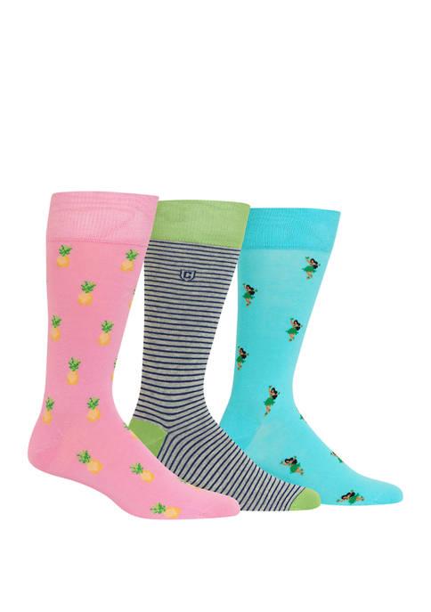 Chaps Mens Pineapple Hula Girl Crew Socks 3